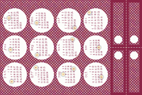 2015 Full Moon Tea Towel Calendar - red colorway fabric by mongiesama on Spoonflower - custom fabric