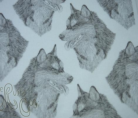 Siberian Husky head sketch - B/W