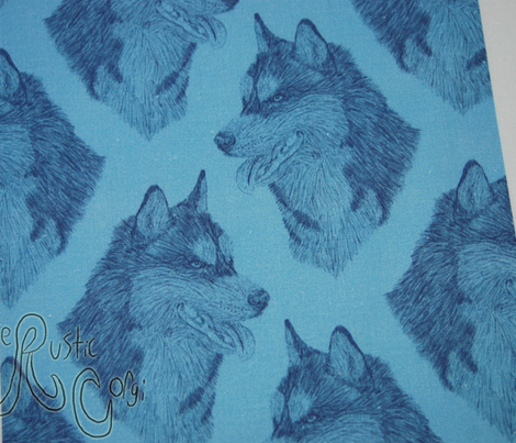 Siberian Husky head sketch - blue