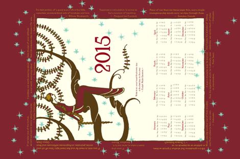 2015 Inspirational Tea Towel in Red Dahlia