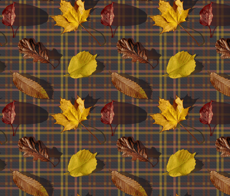 Leaves and Tartan fabric by vannina on Spoonflower - custom fabric