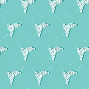 Geometric Origami bird - teal blue