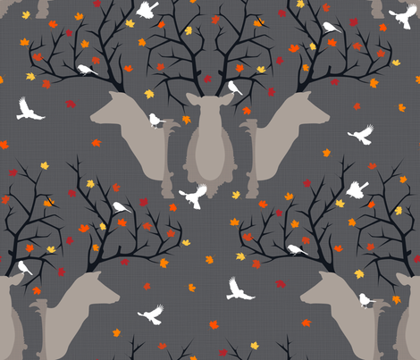 Julie's Deer Fall fabric by juliesfabrics on Spoonflower - custom fabric