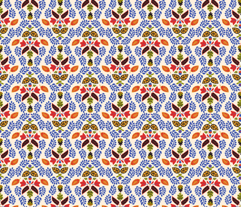 Folk Leaves Light fabric by mag-o on Spoonflower - custom fabric