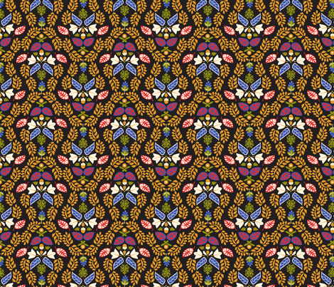 Folk Leaves fabric by mag-o on Spoonflower - custom fabric