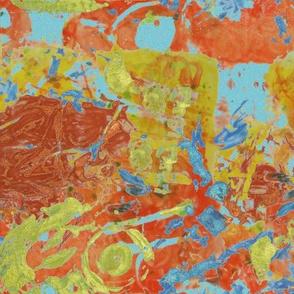 Trash Art in Gold, Robin's Egg Blue and Burnt Orange