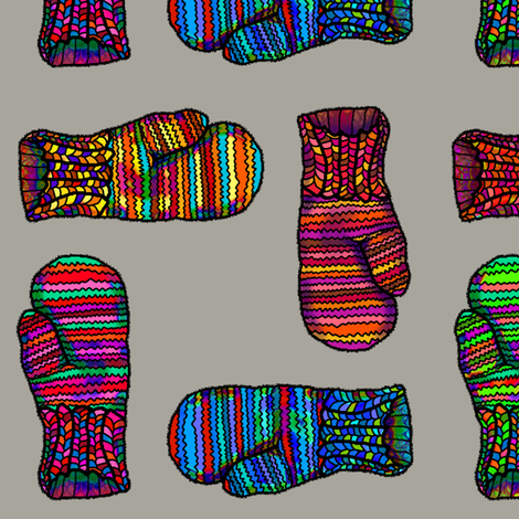 MITTENS COLORFUL on Beige Grey fabric by paysmage on Spoonflower - custom fabric