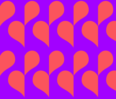 Pink Heart on Purple half drop fabric by sew_delightful on Spoonflower - custom fabric