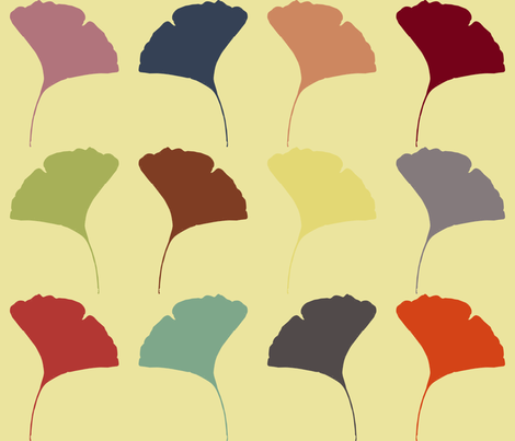 Autumn Ginkgo fabric by larasati on Spoonflower - custom fabric