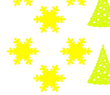Yellow Snowflakes and Christmas Trees on White fabric by sew_delightful on Spoonflower - custom fabric