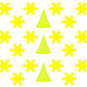 Yellow Snowflakes and Christmas Trees on White