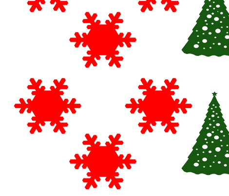 Christmas Trees and Snowflakes fabric by sew_delightful on Spoonflower - custom fabric