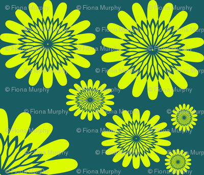 Yellow flowers on Teal