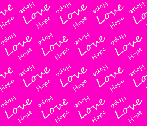 Hope Love Letters on Pink fabric by sew_delightful on Spoonflower - custom fabric