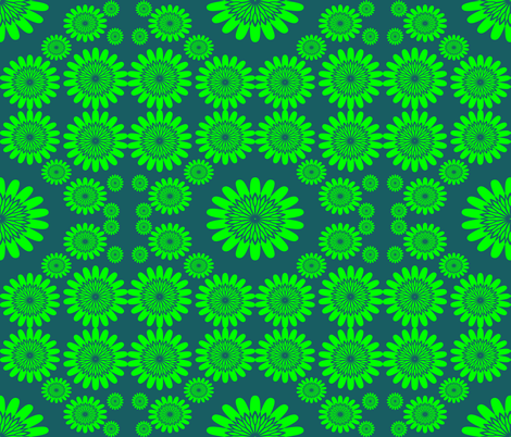 Green Flowers on Teal Background fabric by sew_delightful on Spoonflower - custom fabric