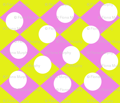 Pink Yellow checkerboard with white spots
