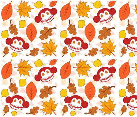 Skeleton Monkey Fall fabric by staceyjean on Spoonflower - custom fabric