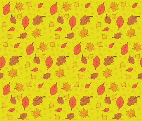 Fall Leaves - yellow fabric by staceyjean on Spoonflower - custom fabric