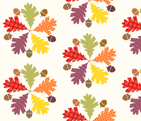 embroidered_oak fabric by fernery on Spoonflower - custom fabric