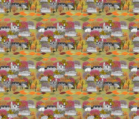 SUNDAY_MORNING_IN_OUR_VILLAGE fabric by mariskadesign on Spoonflower - custom fabric