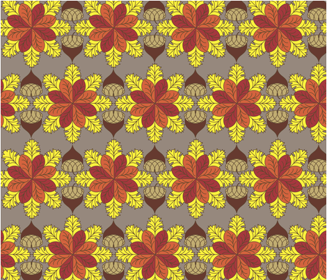 Fall Leaves and Acorns  fabric by kathleenhiggins on Spoonflower - custom fabric