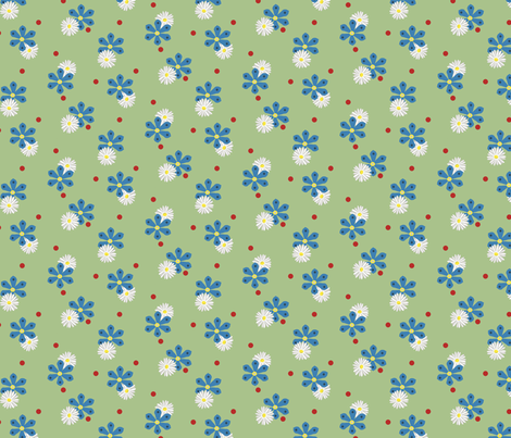 Cornflowers and Daisies fabric by alexaug on Spoonflower - custom fabric