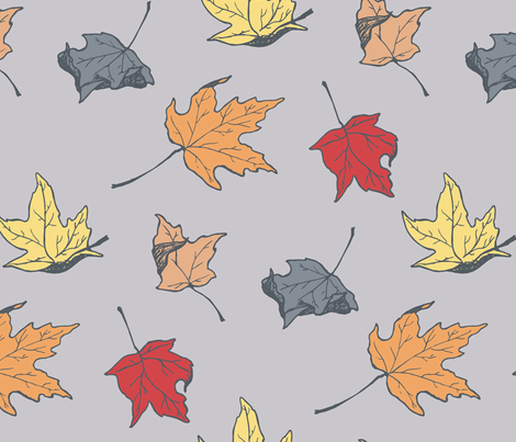 falling leaves fabric by mb_prints on Spoonflower - custom fabric