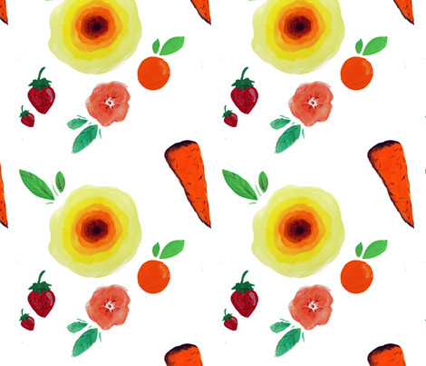 Fruits & Flowers fabric by clairejean on Spoonflower - custom fabric