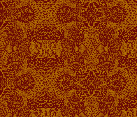 Fall Tangle - Golden Chocolate fabric by mikavela on Spoonflower - custom fabric