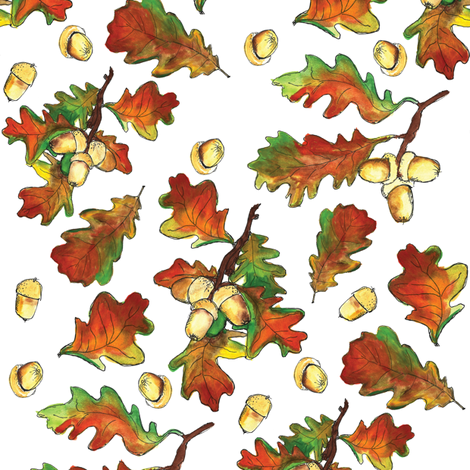 Autumn leaves fall with acrons fabric by laurawrightstudio on Spoonflower - custom fabric