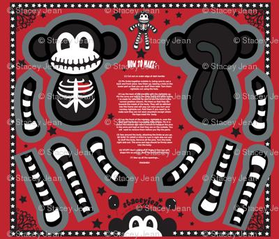 "12"" Macabre the Skeleton Monkey Doll (fat quarter)"