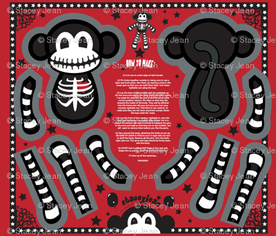 "12"" Macabre the Skeleton Monkey Doll (fat quarter)"
