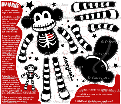 FAT QUARTER - Macabre the Skeleton Monkey Doll