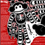 FAT QUARTER - Macabre the Skeleton Monkey Doll