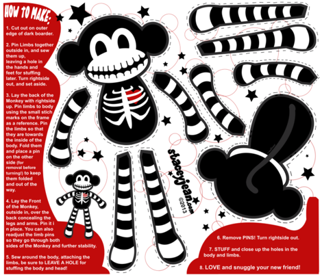 FAT QUARTER - Macabre the Skeleton Monkey Doll fabric by staceyjean on Spoonflower - custom fabric