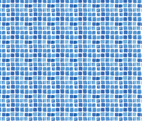 Blue Watercolor Blocks fabric by katebutler on Spoonflower - custom fabric