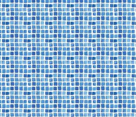 Blue Watercolor Blocks fabric by katebutler on Spoonflower - custom fabric