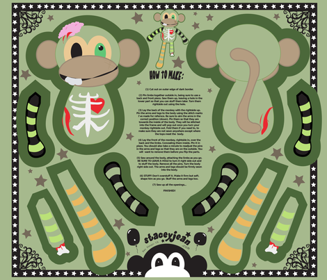 "12"" Ralph the Zombie Monkey Doll (fat quarter) fabric by staceyjean on Spoonflower - custom fabric"