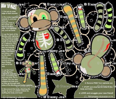 FAT QUARTER - Ralph the Zombie Monkey Plush Doll