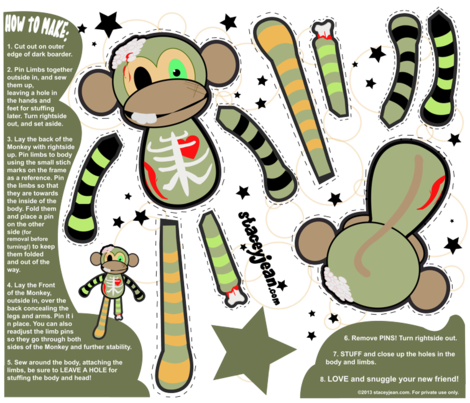 FAT QUARTER - Ralph the Zombie Monkey Plush Doll fabric by staceyjean on Spoonflower - custom fabric