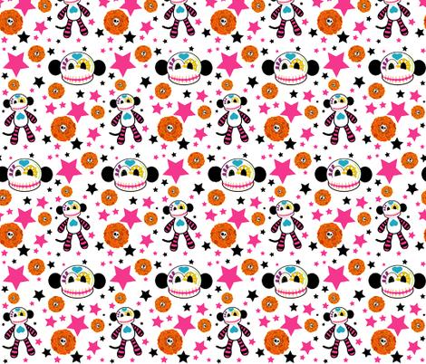 fabric-SUGARSKULL-monkey fabric by staceyjean on Spoonflower - custom fabric