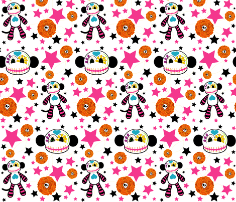 fabric-SUGARSKULL-monkey fabric by staceyjean on Spoonflower - custom fabric