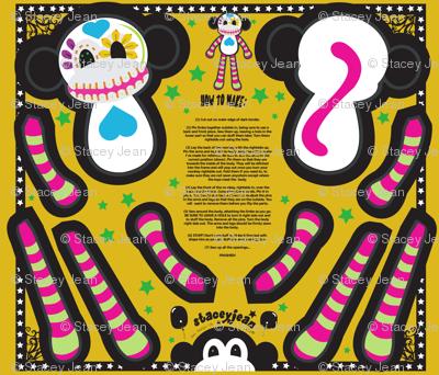 """FQ - 12"""" Calavera the Sugar Skull Monkey Cut & Sew Doll"""
