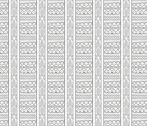Mudcloth (mini) in black on white fabric by domesticate on Spoonflower - custom fabric