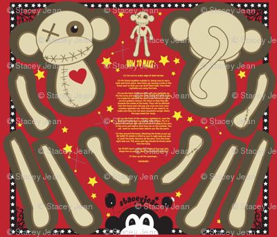 "12"" VooDoo Monkey Plush Doll (fat quarter)"