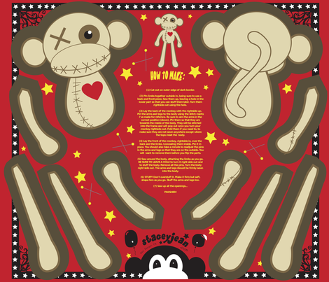 "12"" VooDoo Monkey Plush Doll (fat quarter) fabric by staceyjean on Spoonflower - custom fabric"