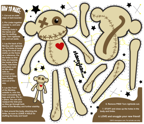 FAT QUARTER - Obeah the VooDoo Monkey Plush Doll fabric by staceyjean on Spoonflower - custom fabric