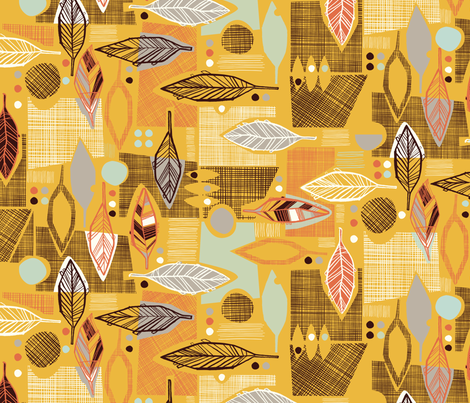 Yellow Leaf Collage fabric by gsonge on Spoonflower - custom fabric