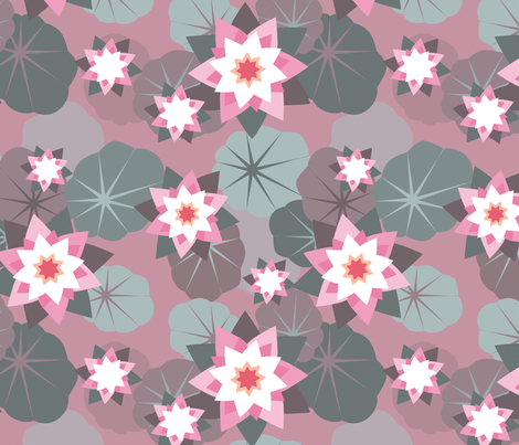 pink lilies fabric by jennifurryrabbit on Spoonflower - custom fabric