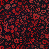 Scandinavian Flowers - Red on Black